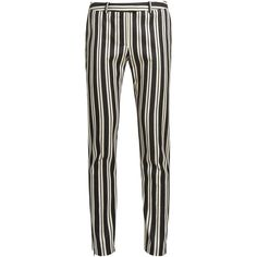Altuzarra Henri stripe-print wool-blend trousers ($850) ❤ liked on Polyvore featuring pants, black stripe, altuzarra, stripe pants, white trousers, striped trousers and slim leg pants