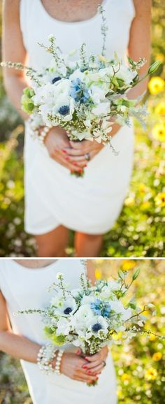 Blue wedding inspiration; blue garden bridal bouquet. #blue #wedding #bouquet