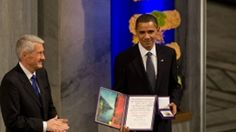 President Obama recieving his prize in 2009 (Photo: Pete Souza)