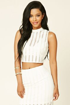 Striped Semi-Sheer Crop Top | Forever 21 - 2000196316
