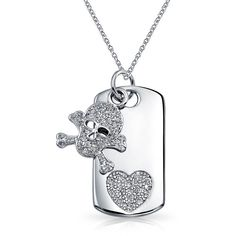 Bling Jewelry Cross My Heart Tag (23 AUD) ❤ liked on Polyvore featuring jewelry, necklaces, grey, necklaces pendants, pendant-necklaces, pendant necklace, skull pendant, cross necklace pendant, skull necklace and necklace heart pendant