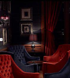 Mid-Century Bar Chairs Meet Modern Lighting Pieces You'll Love Lounge Design, Bar Lounge, Cigar Lounge Decor, Hotel Lounge, Ad Design, Decoration Restaurant, Restaurant Design, Speakeasy Decor, Rock Bar