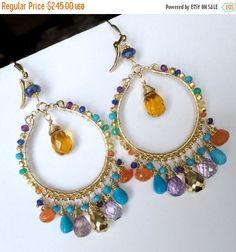 CYBER MONDAY SALE Luxury Gemstone Hoop Earring by DoolittleJewelry