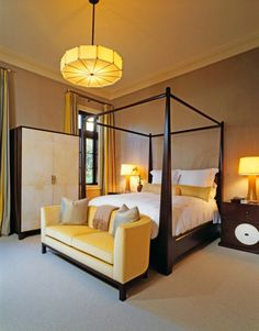 Lively Yellow Sofas Providing Brightness in Interior Look: Terrific Traditional Bedroom Design With Yellow Sofas White Bed Linen Brown Woode. Trendy Bedroom, Cozy Bedroom, Modern Bedroom, Bedroom Decor, Master Bedroom, Bedroom Ideas, Bohemian Bedrooms, Bedroom Classic, White Bedroom