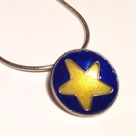 Hand made silver and enamel pendant by Abby Filer available at Franny & Filer jewellery shop in Chorlton - www.frannyandfiler.com - £40