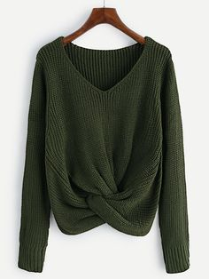 Shop V-neckline Twist Front Chunky Sweater online. SheIn offers V-neckline Twist Front Chunky Sweater & more to fit your fashionable needs.