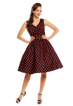 May V-neck 50's Style Spot Dress in Black/Red