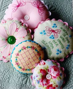 Gorgeous embroidery and applique pincushions