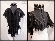 somniaromantica:  This time a capelet / shrug in grey with black lace and grey trim :)  I made the shape of this one a bit different than the previous ones, with less volume at the front and more volume and length at the mid back. Inspired by late victorian fashion, adjusted to own design.For all my sites you can visit:www.somniaromantica.com :)  Oh. Oh how PRETTY.