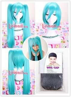 Hatsune miku blue straight clips Ponytail Cosplay Hair+Wig cap