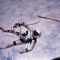 """It is hard to believe that manned space flight began over 50 years ago. While the space program has such a high tech feel to it, we must come to grips with the fact that the early days of the space program qualifies now for """"Old Picture"""" status.  Pictured is Ed White, who achieved the first United States space walk on June 3, 1965."""