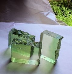Green and clear glycerin soap