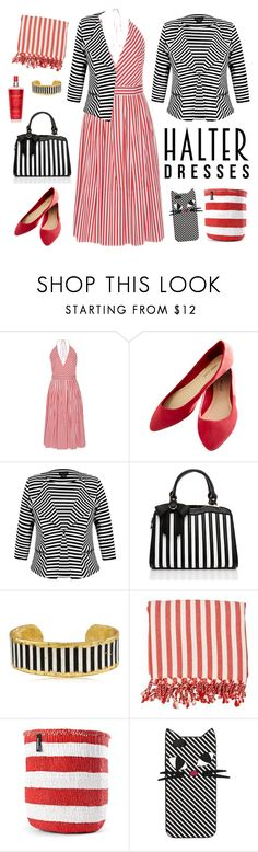 """stripes"" by blumberg ❤ liked on Polyvore featuring MDS Stripes, Wet Seal, City Chic, Évocateur, Lulu Guinness and halterdresses"