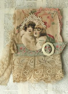 MIXED MEDIA FABRIC COLLAGE BOOK OF ANGEL CHILD | eBay