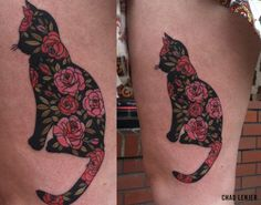 Cat and roses tattoo
