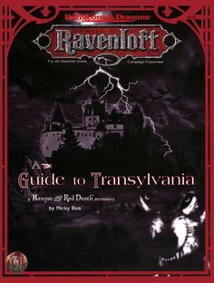 A Guide to Transylvania (2e) - Ravenloft | Book cover and interior art for Advanced Dungeons and Dragons 2.0 - Advanced Dungeons & Dragons, D&D, DND, AD&D, ADND, 2nd Edition, 2nd Ed., 2.0, 2E, OSRIC, OSR, d20, fantasy, Roleplaying Game, Role Playing Game, RPG, Wizards of the Coast, WotC, TSR Inc. | Create your own roleplaying game books w/ RPG Bard: www.rpgbard.com | Not Trusty Sword art: click artwork for source