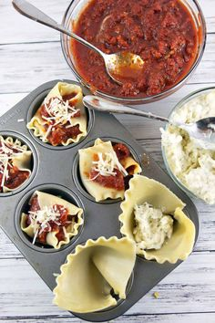 Individual sausage lasagna cups, filled with ricotta cheese, melted mozzarella, hot Italian sausage, and thick, hearty tomato sauce. Who can resist this perfectly portioned pasta? #SimmeredInTradition #ad {Bunsen Burner Bakery}