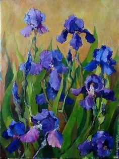 Купить Картина Ирисы 40на30 холст масло Цветы - фиолетовый, сине-фиолетовый, ирисы картина