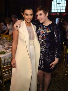 Kim Kardashian West and Lena Dunham attend Variety's Power of Women.  Jamie McCarthy, Getty Images for Variety