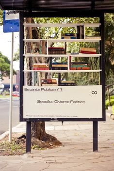 This bus stop library is a DIY project by Urban Hackers in Puerto Alegre, Brazil Mini Library, Little Library, Free Library, Urban Furniture, Street Furniture, Pvc Furniture, Furniture Plans, Library Cabinet, Cut Out People