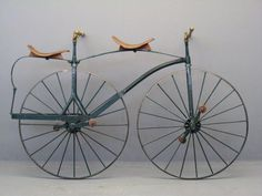 Bicycle Built For Two – Kristin Holt | Earliest Tandem Bicycle– appears to be a velocipede from circa 1869. Image: Pinterest. Note the absence of a chain. Or brakes.