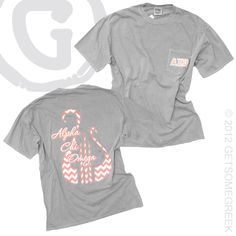 "ALPHA CHI OMEGA GREY COMFORT COLORS POCKET T ""ANNA"" $28.50"