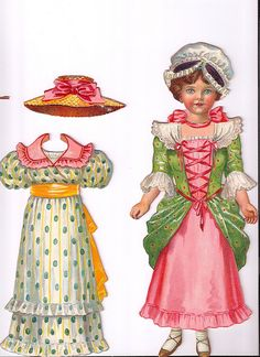 dutton's dolls for dressing...little miss muffet paper doll and outfits, circa 1900