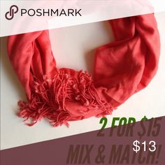 Beautiful Coral Scarf from Nordstrom Rack! Hardly used this scarf twice. Washed and ready for you! It's long enough to be used as a shawl, wrap, or for a really cold day! Pretty color would stand out well on a black or gray coat! Accessories Scarves & Wraps