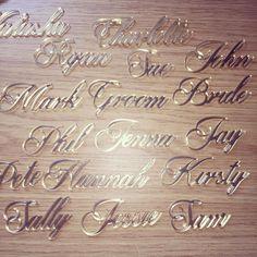Gold mirror finished Perspex place names! #jld #goldplacenames #gold #perspex #etsyseller #handmade #cool #golden #etsy #etsyshop #etsyseller #etsyuk #weddingphotography #weddinginspiration #weddingplanning #weddingplanner #weddingfun #wedding #weddings #weddinginspiration #instagood #instagram @cjvenning