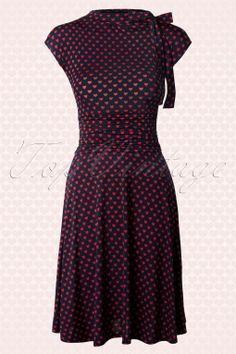 Retrolicious - Bridget Heart Bombshell Dress Navy and Red