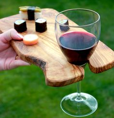 Wooden party trays set of 6 international food wine for Wooden canape trays