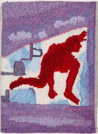 """Red figure on purple ground"" Jon Cattapan 2006 Size: 36 x Materials: wool, cotton Weaver: John Dicks. Tapestry Weaving, Tapestries, Textile Art, Weave, Workshop, Textiles, Fine Art, Wool, Purple"