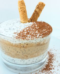 Chia Pudding al tiramisù. Chia Puding, Juice Plus, Quick Meals, Biscotti, Bread Recipes, Tiramisu, Detox, Good Food, Food And Drink
