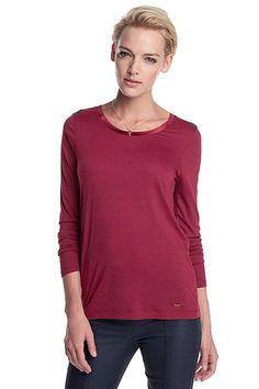 Viscose jersey t-shirt burgundy - viininpunainen pitkähihainen