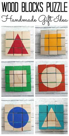 Wood Blocks Puzzle – handmade gift idea for any holiday! Perfect for toddlers and pre-schoolers! Wood Blocks Puzzle – handmade gift idea for any holiday!Make this wood blocks puzzle for a handmade gift idea that they will never forget. Wooden Block Puzzle, Wooden Blocks, Wooden Puzzles, Glass Blocks, Homemade Toys, Homemade Gifts, Craft Gifts, Diy Gifts, Diy For Kids