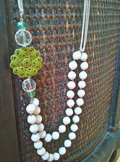 DIY beaded filigree necklace