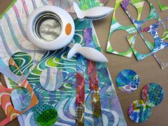 Gelli® Printing — DIY Stickers Tutorial When the paint is dry, you're ready to cut or punch shapes into stickers.