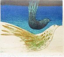 """Hayati MİSMAN,""""Kuşlar"""",1985,Gravür,15x17 cm."""