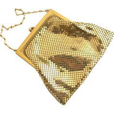 #VintageBeginsHere at www.rubylane.com @rubylanecom --Vintage Whiting & Davis Small Gold Tone Mesh Purse
