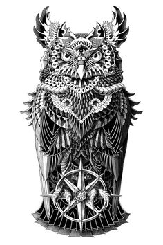Grand Horned Owl by BIOWORKZ is printed with premium inks for brilliant color and then hand-stretched over museum quality stretcher bars. Money Back Guarantee AND Free Return Shipping. Owl Tattoo Design, Tattoo Designs Men, Owl Tattoo Drawings, Tattoo Owl, Tribal Owl Tattoos, Totem Tattoo, Maori Tattoos, Body Art Tattoos, Sleeve Tattoos