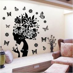 Wall Decals & Stickers Latest Pretty Butterfly Flower Fairy Girl Pvc Wall Sticker Home Decor Decals & Garden Girls Wall Stickers, Removable Wall Stickers, Wall Stickers Home Decor, Wall Stickers Murals, Wall Decals, Decorative Stickers, Vinyl Decor, Sticker Vinyl, Car Stickers