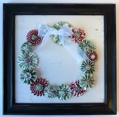 Framed Rosette Wreath Home Decor use Ribbons and Rosettes Cricut cartridge--although this can easily be made without using a Cricut.