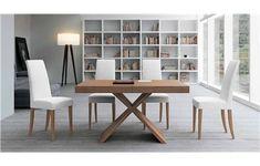 Conjunto de mesa moderna extensible y 4 sillas de madera