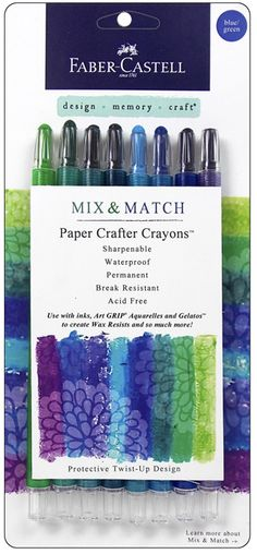 Faber-Castell - Mix and Match Collection - Paper Crafter Crayons - Blue and Green - 8 Piece Set Faber Castell, Crayon Set, Mandala, Blue And Green, Wax Crayons, Birthday Scrapbook, Types Of Craft, Watercolor Pencils, Art Supplies
