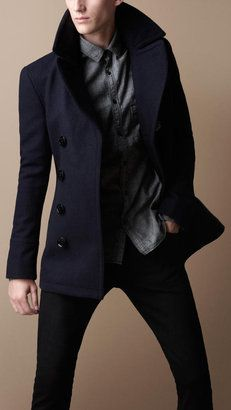 ShopStyle: BurberryWool Blend Pea Coat