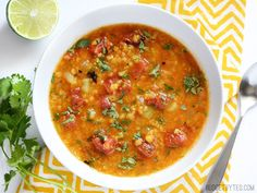 Mexican Lentil Stew ~ Smoky roasted tomatoes, fresh lime juice, and a handful of potent spices make this Mexican Red Lentil Stew anything but ordinary. Step by step photos. Mexican Food Recipes, Soup Recipes, Vegetarian Recipes, Healthy Recipes, Ethnic Recipes, Seitan Recipes, Recipies, Vegan Soups, Dried Lentils