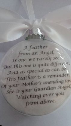 """Glass In Memory Memorial Mother Father Papa Mama Mema Mom Dad Custom Christmas Remembrance Ornament """"A Feather from a Guardian Angel"""" Christmas Crafts To Sell, Christmas Gifts For Coworkers, Ribbon On Christmas Tree, Diy Christmas Ornaments, Homemade Christmas, Simple Christmas, Holiday Crafts, Christmas Decorations, Christmas Trees"""
