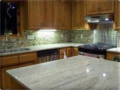 Stainless Steel Granite Kitchen Backsplash Photos Kitchen Backsplash Photos On Metal Tile Kitchen Backsplash Photos, Contemporary Kitchen Backsplash, Glass Tile Backsplash, Granite Kitchen, Kitchen Photos, Kitchen Tiles, New Kitchen, Kitchen Design, Kitchen Cabinets