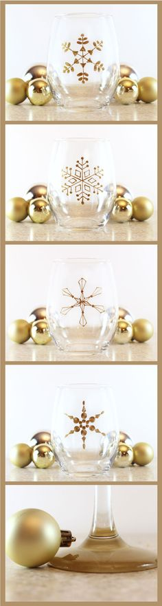 The easiest Holiday Gift! A beautiful snowflake wine glass set.