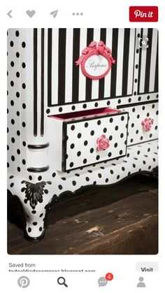 I like this for inspiration for the girls bathroom. Plays off the black/white of boys bathroom, adds that French feel (but for a little girl, not a grown up). Maybe we could do wallpaper in this polka dot/striped feel or paint? Or a creative way, like this picture (painted piece of furniture with the pink handles and sign)